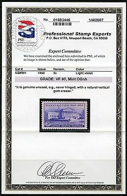 United States Scott#991 Graded Vf  By Pse With Vertical Gum Crease  You Agree ?