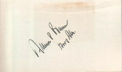 Albert Brewer Autographed Index Card 47th Governor of Alabama 1968-1971