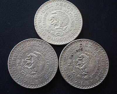 Mexico Lot  3 Coins $10 Pesos Silver Constitution 1957
