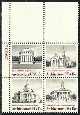 US #1782a 15¢ American Architecture Plate Block MNH