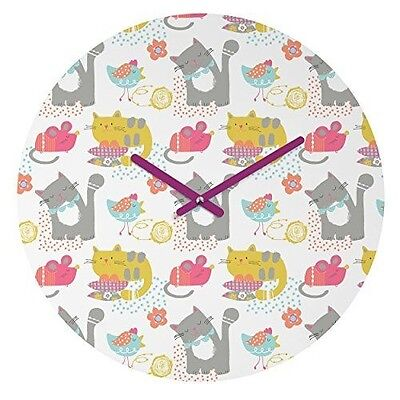 """DENY Designs Wendy Kendall Cat and Mouse Round Clock, 12"""" Round"""