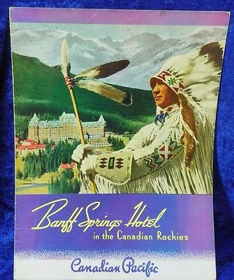 Vintage 1941 Canadian Pacific Railroad Menu Banff Springs Hotel Native American