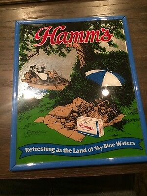Hamms Beer picnic mirror with the Bear Cardboard Behind Glass 1989 Pabst Co