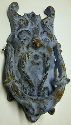 Vintage Cast Iron Mythical Figural Door Knocker~Neptune? Thor? Poseidon? ?