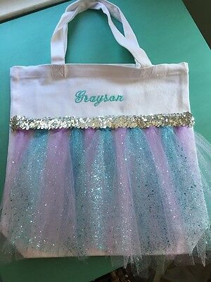 TuTu Tote Canvas Bag Personalized Ballet Dance Grayson Frozen Inspired (AH)