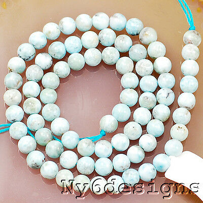 """Natural AA+ 5x5mm Blue Larimar Round Beads 15"""" (OT308)a for DIY Jewelry"""