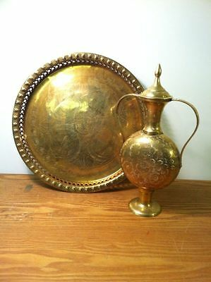 Vintage Brass Etched & Pierced Serving Round Platter Tray + Engraved Lidded Vase