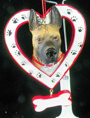 Great Dane Dog in Heart with Bone Christmas Tree Ornament new holiday