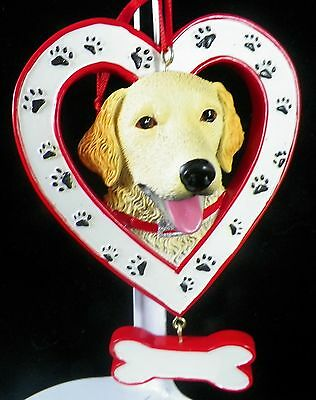 Golden Retriever Dog in Heart with Bone Christmas Tree Ornament new holiday