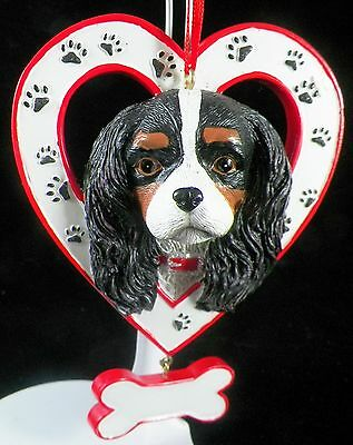 Cavalier King Charles Dog in Heart with Bone Christmas Tree Ornament new