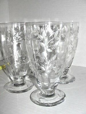4 VTG Footed Tumbler Etched Cut Crystal Glass Iced Tea Water Beer Glasses 12 oz.