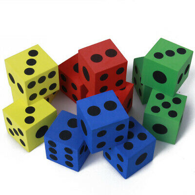 12pcs MOULDED FOAM DICE 3.8cm Kids Outdoor Activities Games Play Party Favor