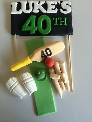 3D Edible Cricket Cake Toppers Set Decorations Sports Plaque Name Age