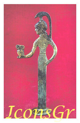 Ancient Greek Bronze Museum Statue Replica Athena Holding An Owl Collectable