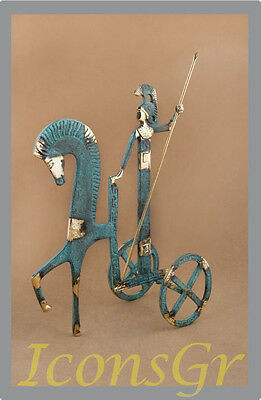 Ancient Greek Bronze Museum Statue Replica Athena With Spear Chariot Of The Sun