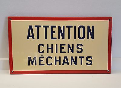Large VINTAGE STEEL ENAMEL SIGN PLAQUE Beware Vicious dogs IN FRENCH
