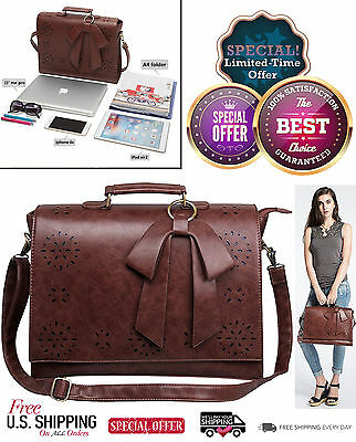 Women Faux Leather Bag Briefcase Shoulder Laptop Messenger Bags Brown Coach