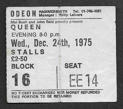 QUEEN  :  A Night At The Opera - 1975 Hammersmith Odeon UK Tour Concert Ticket