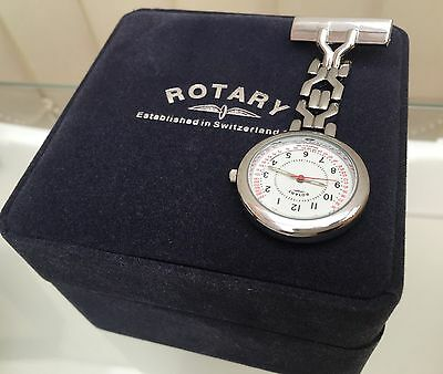 ROTARY NURSES DOCTOR WATCH NURSE Fob STAINLESS STEEL Luminous Hands  BOXED