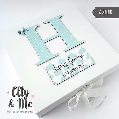 LARGE Personalised New Baby/Christening Memory/Keepsake Box Gift Clouds Boy