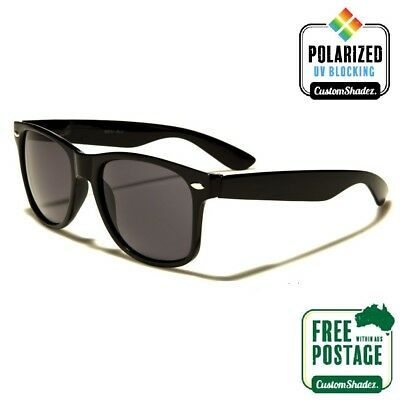 Polarised Retro Sunglasses - Gloss Black Frame - Mens / Womens- FREE POSTAGE AUS