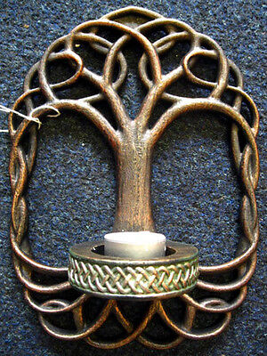 TREE OF LIFE CANDLE Tealight HOLDER WALL Sconce PAGAN Wiccan CELTIC