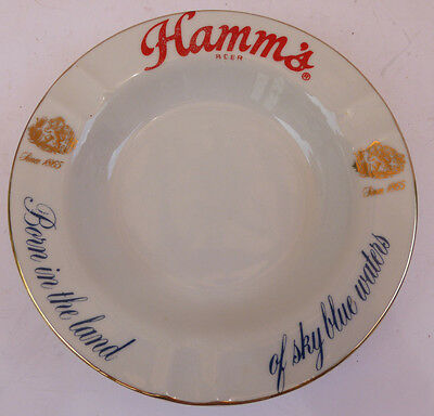 "Vintage 1960's Hamm's Beer Ashtray 6 3/4"" Diameter White Gold Blue Red"
