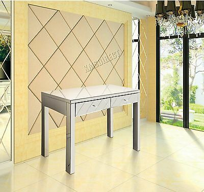 COSMETIC DAMAGED FoxHunter Mirrored Furniture Glass 2 Drawer Dressing Table