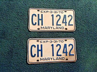 """Vintage 1970 MARYLAND License Plates ~Matched Set/Pair """"CH 1242""""~"""