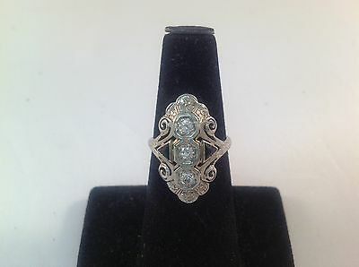 Vintage Filigree 18K White Gold Diamond And Sapphire Ring(.42Ctw)