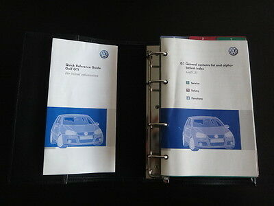 VW Golf GTI MK5 Owners Manual Handbook Pack &  GTI Binder 2004-2009