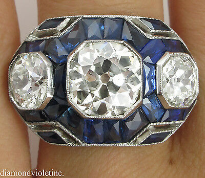 7.28Ct Antique Vintage Deco Old Euro Diamond Sapphire Engagement Wedding Ring