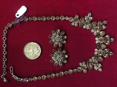 Vintage crystal earrings and necklace SHERMAN '1950