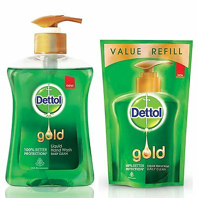 Dettol Gold Liquid Hand Wash Daily Clean - 250 ml with Free Dettol Pouch - 185ml
