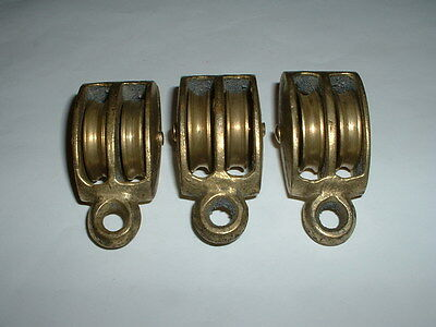 3 x BRASS DOUBLE BLOCK PULLEYS MARINE SAILBOAT BLOCKS 2 1/2""