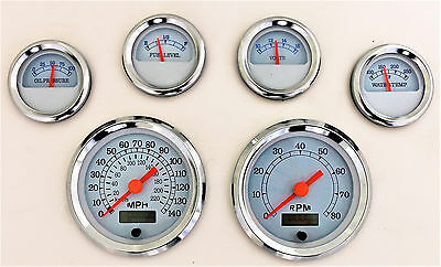 6 Gauge Chrome Set White Face Speedo, Tach, Fuel, Oil Psi, Water Temp, Volt