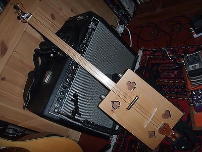 """""""Cigar Box Guitar"""", 3 string, crafted in the Wensum Valley, Norfolk, UK."""