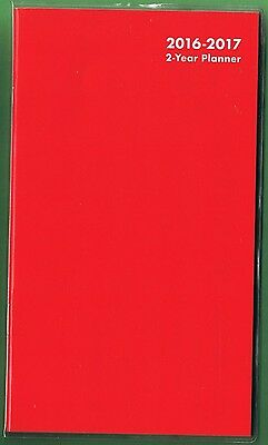 2016-2017 - 2 Year Pocket Calendar Planner Agenda Appointment Book * Red *