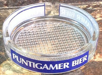 Vintage Glass Ashtray Puntigamer Bier Bar Advertising Beer Austria