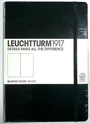 """Leuchtturm 1917 Black Plain/Blank Hardcover Notebook 249 Pages 5.75"""" x 8.25"""" NEW"""