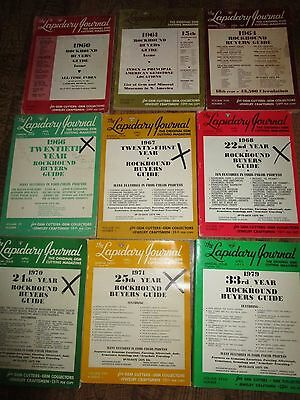 HUGE LOT 9 Vtg Lapidary Journal Rockhound Buyers Guide LOT 1960-1979