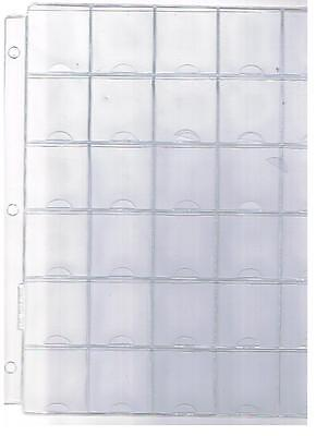 "30 Pocket Clear 3 Holes Coin Sheet Album Page Fits 1 1/2"" X 1 1/2"" Coin Holders"