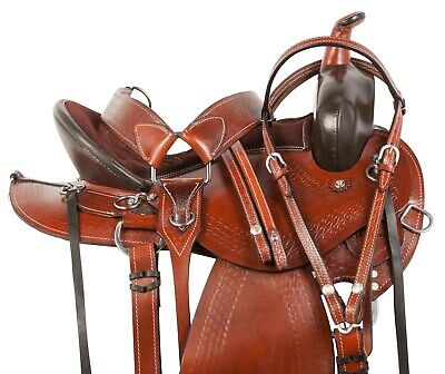 Pro Brown Western Silver Show Pleasure Trail Horse Leather Saddle Tack 16 17 18
