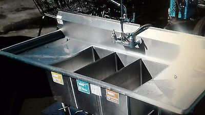 Stainless Steel Compact 3 compartment sink 6 Ft 4'L x 24'D