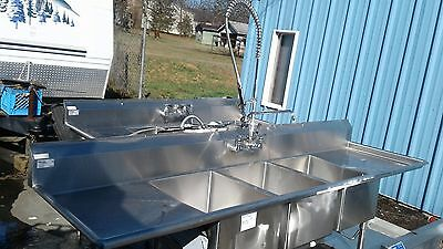 Stainless Steel 3 compartment sink 8 Ft 10'L x 29'D