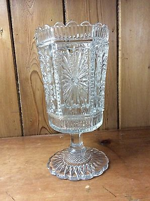 PRESSED GLASS VASE by SOWERBY of GATESHEAD Victorian/Edwardian