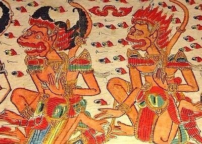 20th C. Indonesian Storytelling Cloth Depicting the Mahabharata: The Indian Epic