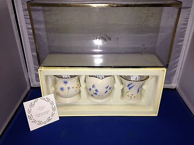 Lenox Classic Set of 3 Floral Votives w/ Blue Flowers Candles Included NIP