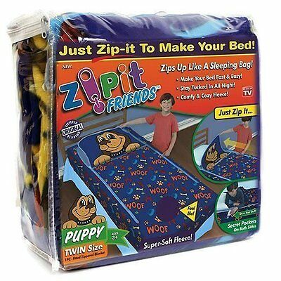Zipit Friends Twin Blanket  Bedding Sleeping Cozy Kids Set  Blue Puppy New