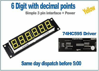 6 Digit yellow seven segment led display module 74HC595 driver RobotDyn